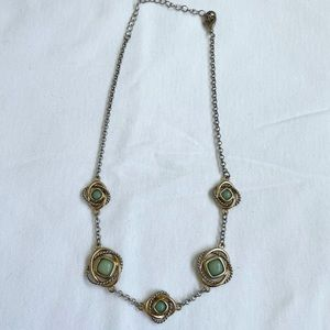 Vintage Silver Gold & Turquoise Necklace